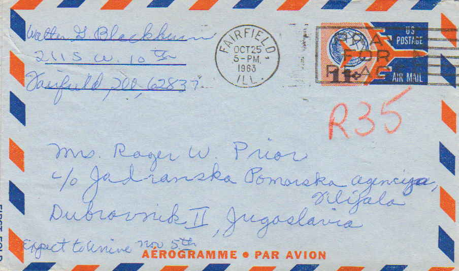 United States Illinois Fairfield 1963 machine  11c Globe and Jet Air Letter S...