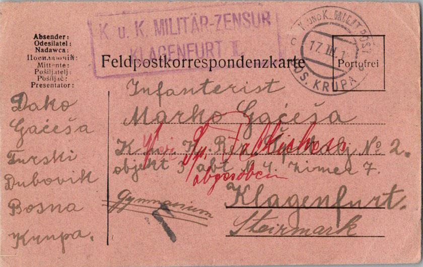 Yugoslavia Free Military Mail 1916 K.u.K. Milit. Post, Bos. Krupa  [Bosnia] F...