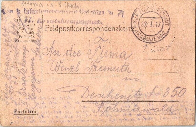 Yugoslavia Soldier's Free Mail 1917 K.u.K. Etaphenpostamt, Kragujevac [Serbia...