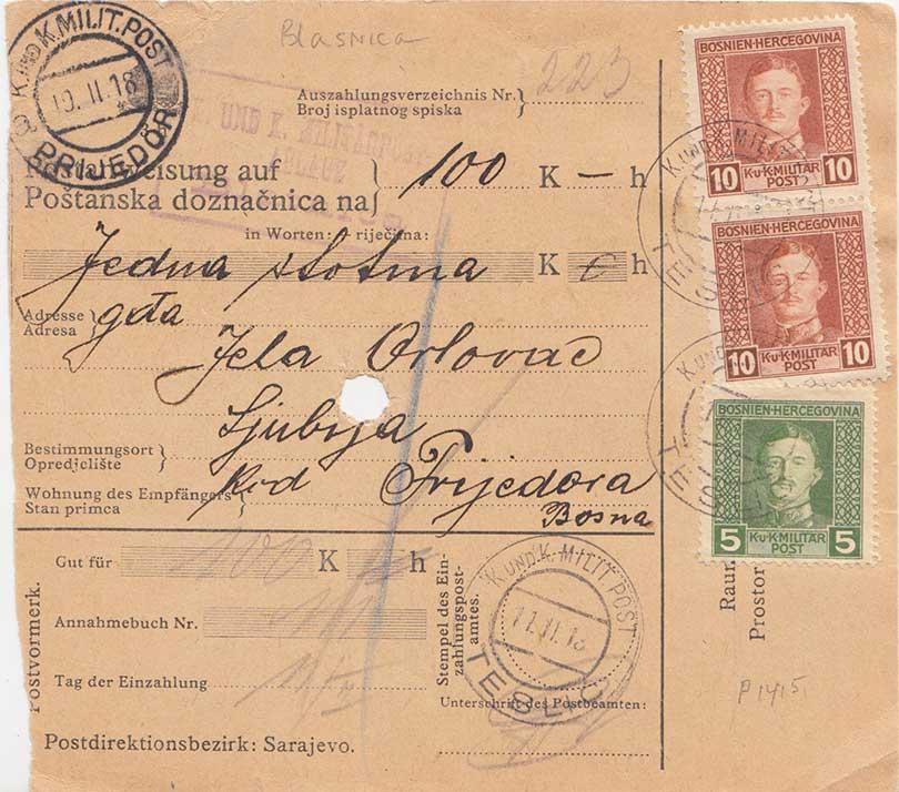 Yugoslavia Bosnia and Herzegovina 5h and 10h (2) Emperor Karl I 1918 K. und K...